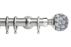 Rolls 28mm Neo Jewelled Ball Metal Curtain Pole Satin Steel