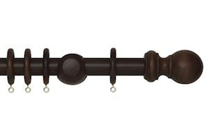 Rolls 28mm Woodline Wooden Curtain Pole Dark Oak