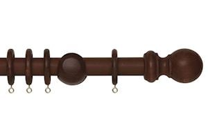 Rolls 28mm Woodline Wooden Curtain Pole Rosewood - Thumbnail 1
