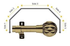 Swish 28mm Cruzar 5 Sided Bay Window Curtain Pole Antique Brass - Thumbnail 1