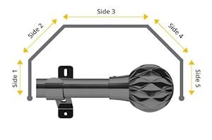 Swish 28mm Cruzar 5 Sided Bay Window Curtain Pole Graphite