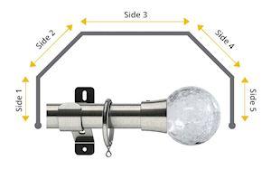 Swish 28mm Gossamer 5 Sided Bay Window Curtain Pole Satin Steel - Thumbnail 1