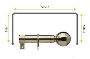 Universal 28mm Ball 3 Sided Bay Window Curtain Pole Antique Brass