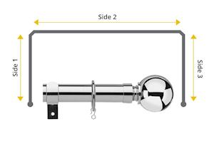 Universal 28mm Ball 3 Sided Bay Window Curtain Pole Chrome