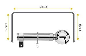 Universal 28mm Ball 3 Sided Bay Window Curtain Pole Chrome - Thumbnail 1