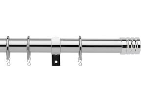 Universal 25-28mm Barrel Chrome Extendable Curtain Pole