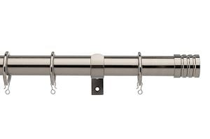 Universal 25-28mm Barrel Satin Steel Extendable Curtain Pole