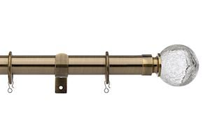 Universal 28mm Cracked Glass Antique Brass Metal Curtain Pole - Thumbnail 1