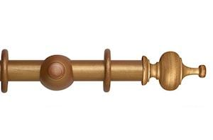 Hallis 35mm Museum Boudoir Wooden Curtain Pole Red Gold