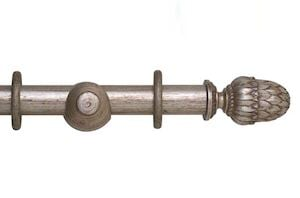 Hallis 35mm Museum Pantheon Wooden Curtain Pole Antique Silver