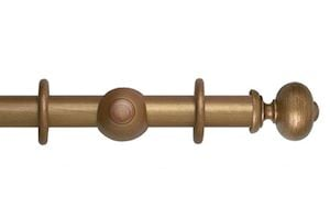 Hallis 35mm Museum Parham Wooden Curtain Pole Red Gold