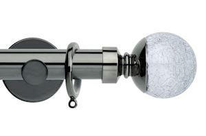 Rolls 35mm Neo Crackled Glass Metal Curtain Pole Black Nickel