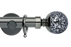 Rolls 35mm Neo Mosaic Ball Metal Curtain Pole Black Nickel