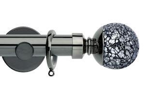 Rolls 35mm Neo Mosaic Ball Metal Curtain Pole Black Nickel