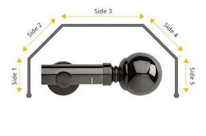 Rolls 35mm Neo Ball 5 Sided Bay Window Curtain Pole Black Nickel - Thumbnail 1