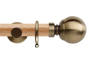 Rolls 35mm Neo Oak Ball Spun Brass Wooden Curtain Pole