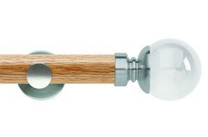 Rolls 35mm Neo Oak Clear Ball Stainless Steel Wooden Eyelet Pole