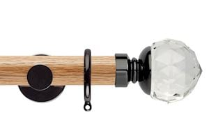 Rolls 35mm Neo Oak Clear Faceted Ball Black Nickel Wooden Curtain Pole