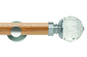 Rolls 35mm Neo Oak Clear Faceted Ball Stainless Steel Wooden Eyelet Pole - Thumbnail 1