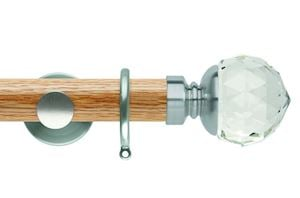 Rolls 35mm Neo Oak Clear Faceted Ball Stainless Steel Wooden Curtain Pole