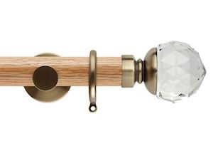 Rolls 35mm Neo Oak Clear Faceted Ball Spun Brass Wooden Curtain Pole