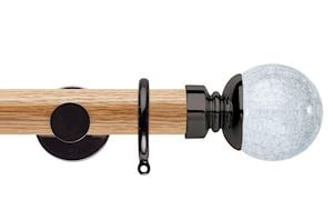 Rolls 35mm Neo Oak Crackled Glass Black Nickel Wooden Curtain Pole