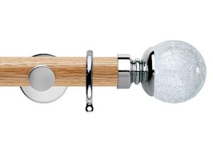 Rolls 35mm Neo Oak Crackled Glass Chrome Wooden Curtain Pole