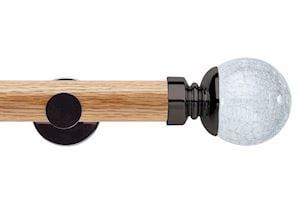 Rolls 35mm Neo Oak Crackled Glass Black Nickel Wooden Eyelet Pole