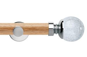 Rolls 35mm Neo Oak Crackled Glass Chrome Wooden Eyelet Pole