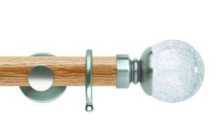 Rolls 35mm Neo Oak Crackled Glass Stainless Steel Wooden Curtain Pole