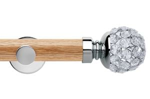 Rolls 35mm Neo Oak Jewelled Ball Chrome Wooden Eyelet Pole