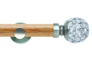 Rolls 35mm Neo Oak Jewelled Ball Stainless Steel Wooden Eyelet Pole