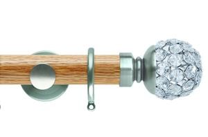 Rolls 35mm Neo Oak Jewelled Ball Stainless Steel Wooden Curtain Pole