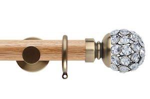 Rolls 35mm Neo Oak Jewelled Ball Spun Brass Wooden Curtain Pole