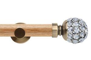 Rolls 35mm Neo Oak Jewelled Ball Spun Brass Wooden Eyelet Pole