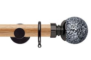 Rolls 35mm Neo Oak Mosaic Ball Black Nickel Wooden Curtain Pole