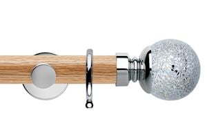Rolls 35mm Neo Oak Mosaic Ball Chrome Wooden Curtain Pole
