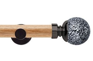 Rolls 35mm Neo Oak Mosaic Ball Black Nickel Wooden Eyelet Pole