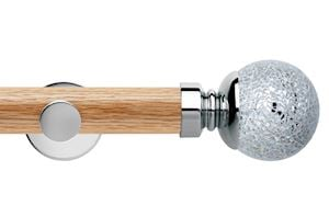Rolls 35mm Neo Oak Mosaic Ball Chrome Wooden Eyelet Pole