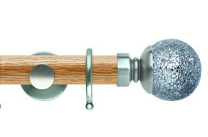 Rolls 35mm Neo Oak Mosaic Ball Stainless Steel Wooden Curtain Pole