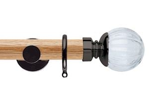 Rolls 35mm Neo Oak Clear Pumpkin Black Nickel Wooden Curtain Pole