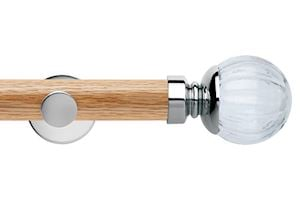 Rolls 35mm Neo Oak Clear Pumpkin Chrome Wooden Eyelet Pole