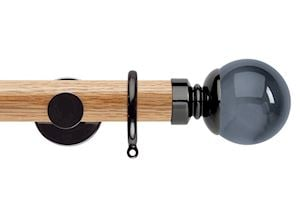 Rolls 35mm Neo Oak Smoke Grey Ball Black Nickel Wooden Curtain Pole