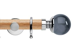 Rolls 35mm Neo Oak Smoke Grey Ball Chrome Wooden Curtain Pole