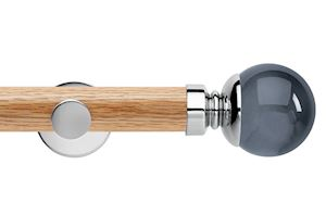 Rolls 35mm Neo Oak Smoke Grey Ball Chrome Wooden Eyelet Pole