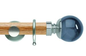 Rolls 35mm Neo Oak Smoke Grey Ball Stainless Steel Wooden Curtain Pole
