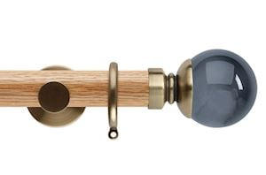 Rolls 35mm Neo Oak Smoke Grey Ball Spun Brass Wooden Curtain Pole