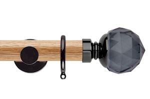 Rolls 35mm Neo Oak Smoke Grey Faceted Ball Black Nickel Wooden Curtain Pole