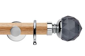 Rolls 35mm Neo Oak Smoke Grey Faceted Ball Chrome Wooden Curtain Pole