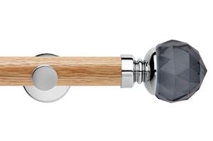 Rolls 35mm Neo Oak Smoke Grey Faceted Ball Chrome Wooden Eyelet Pole
